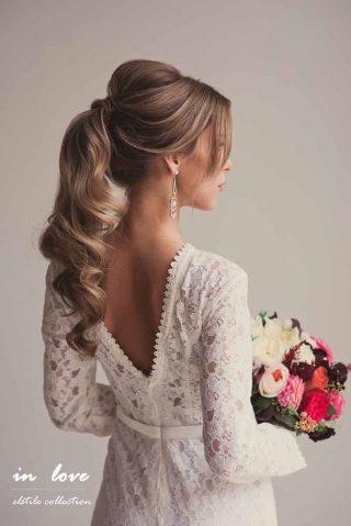 fryzury ślubne - kucyk z cienkich włosów