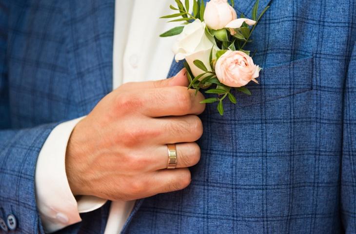 Garnitur ślubny w kratę - zdjęcie 6