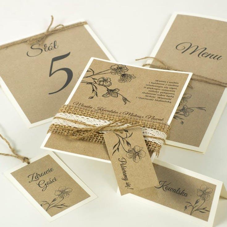 karty menu weselnego