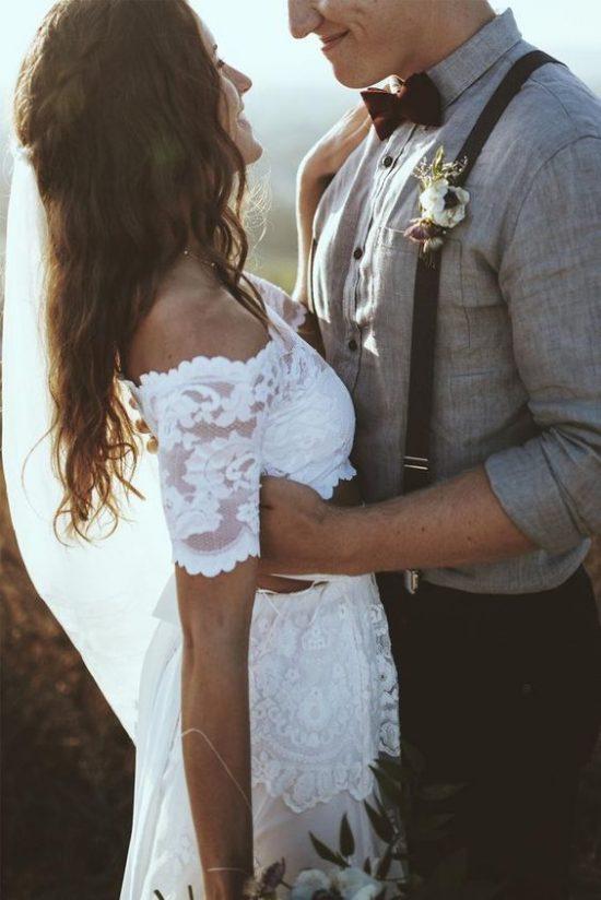jak dobrać garnitur do sukni ślubnej boho