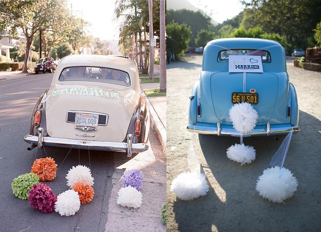 Jak samodzielnie udekorować samochód na ślub - pompony - zdjęcie 4