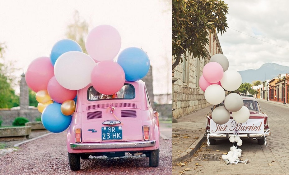 Jak samodzielnie udekorować samochód na ślub -balony - zdjęcie 5