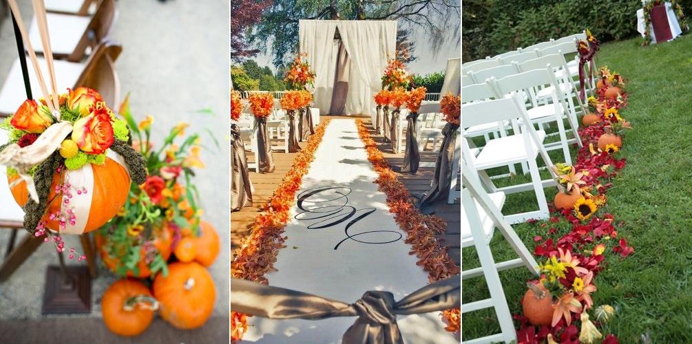 Jesienne dekoracje kościoła na ślub