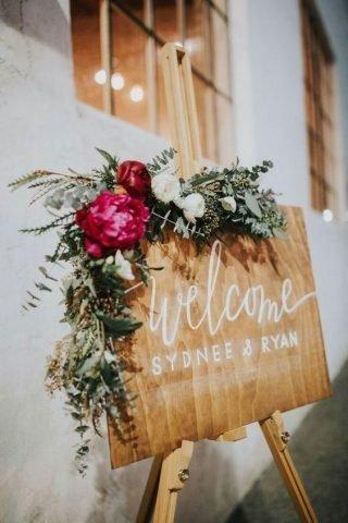 Jesienne dekoracje weselne – tablica powitalna