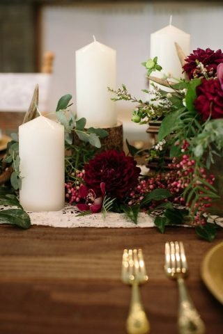 Jesienne dekoracje weselne – świece