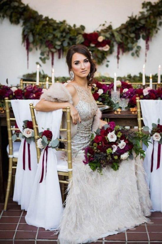 Jesienne dekoracje weselne – suknia ślubna
