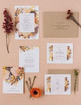 Jesienne dekoracje weselne – zaproszenia