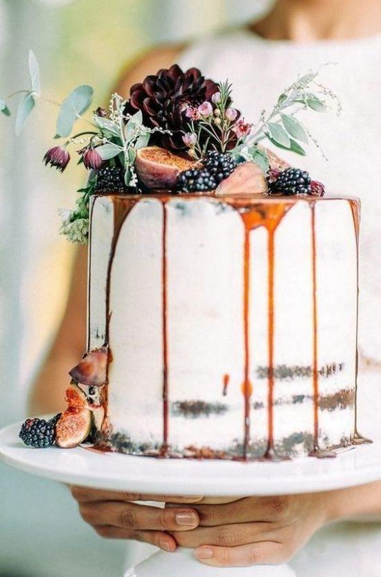 Jesienne dekoracje weselne – tort
