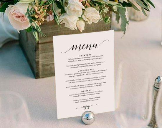 Karty menu weselnego - zdjęcie 1