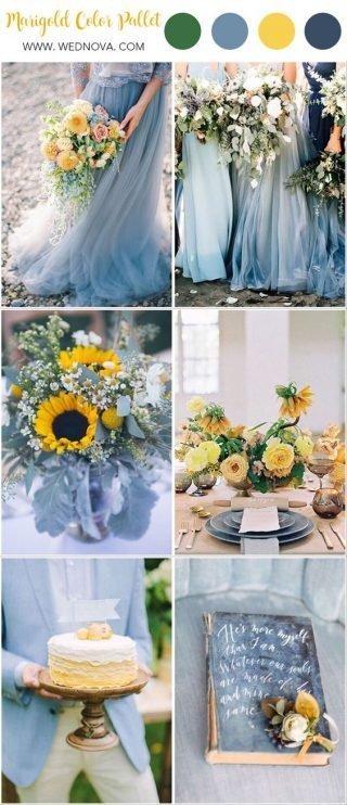 błękitny kolor przewodni wesela