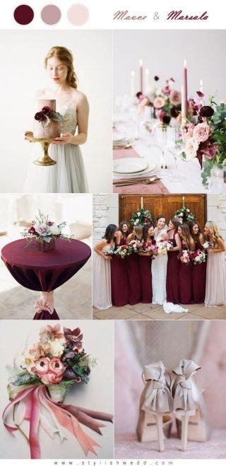 bordowy kolor przewodni wesela