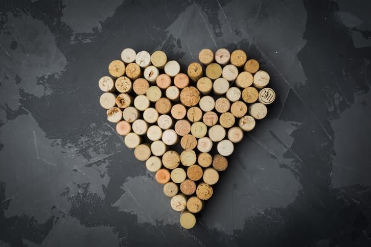 serce korki od wina wesele rustykalne