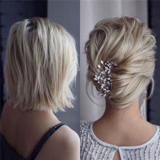 Upięcie ślubne z krótkich włosów