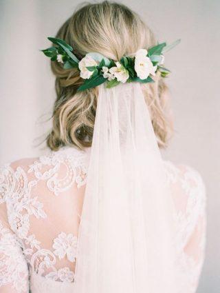 Welon do krótkiej fryzury ślubnej