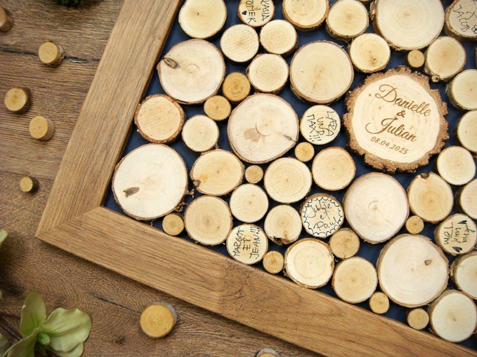 Księga gości plastry drewna