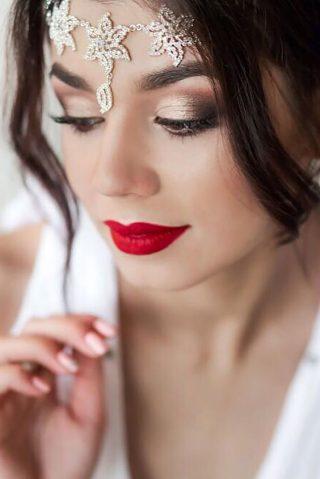Metaliczny makijaż ślubny 2020