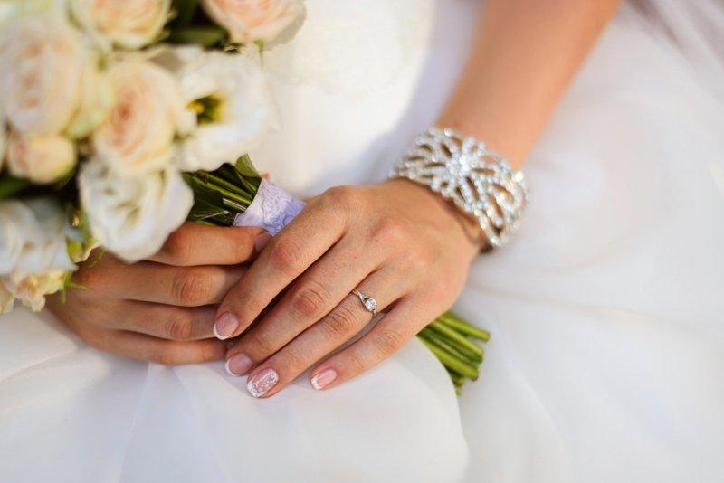 French manicure ślubny