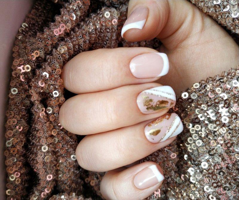 złoty manicure ślubny