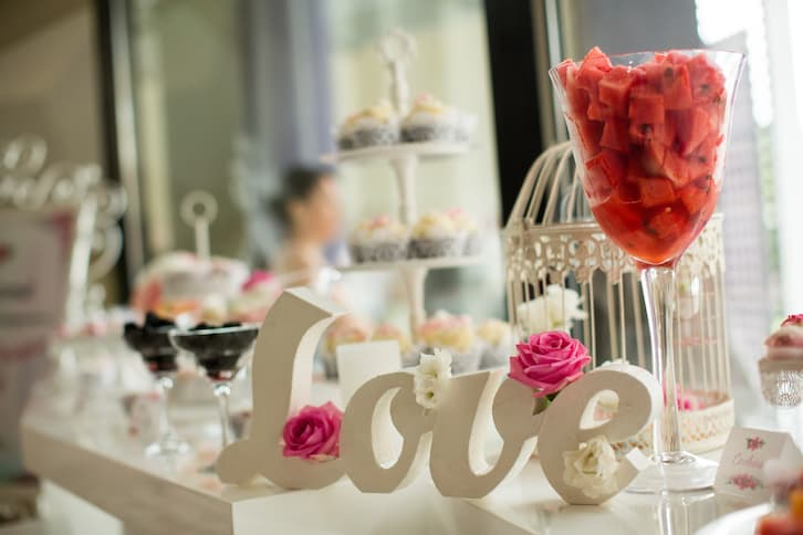 menu weselne candy bar