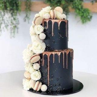 Czarno-miedziany tort weselny