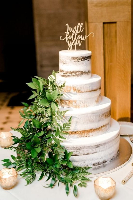 Tort weselny z paprotką