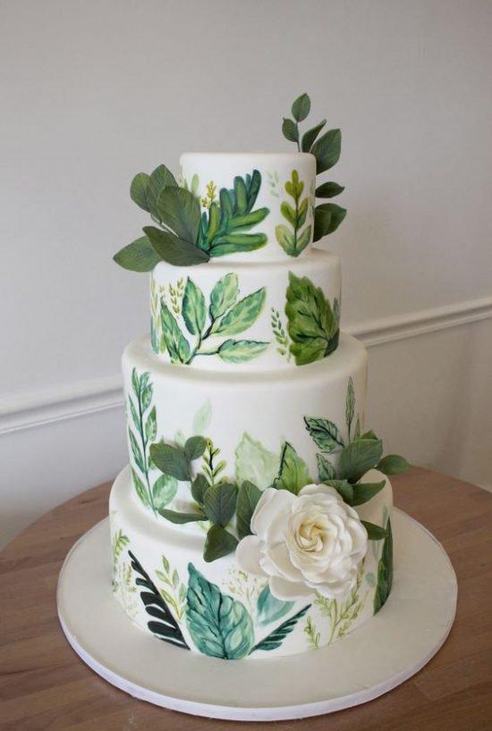 Tort weselny z malowanymi roślinami