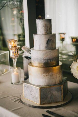 Marmurowe torty weselne