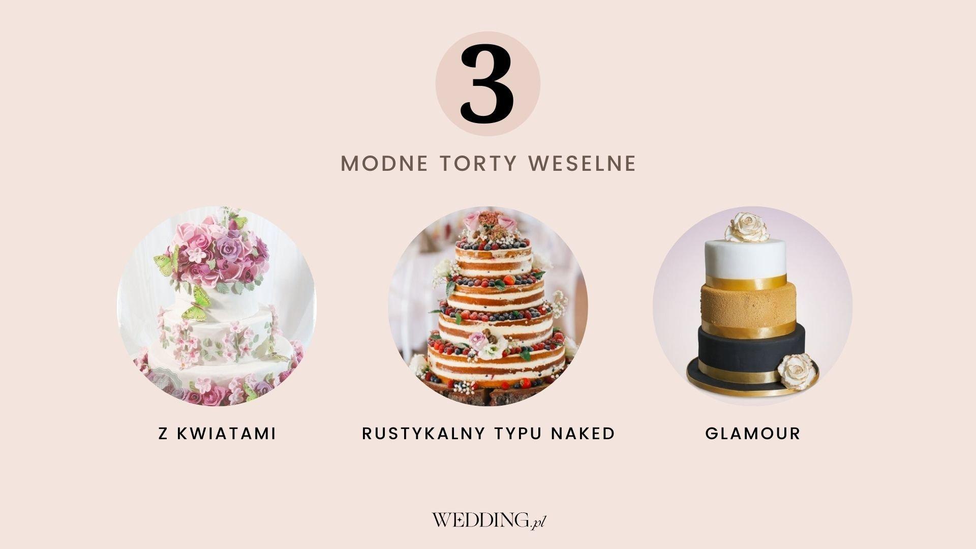 modne torty weselne trendy