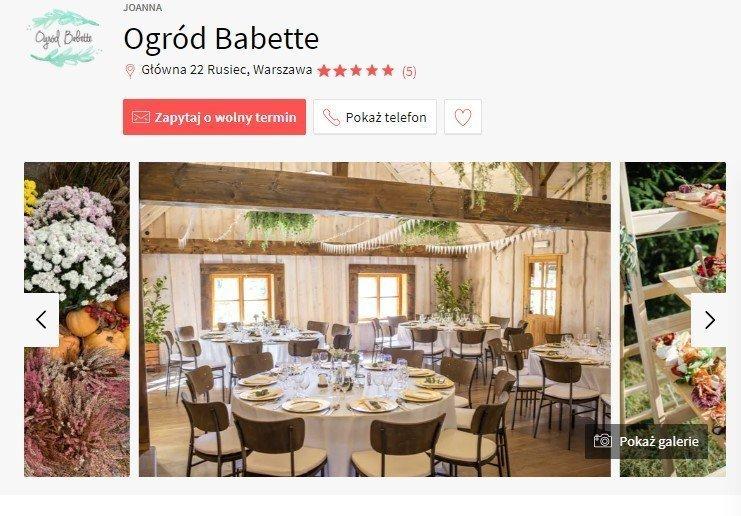 sale weselne w stylu boho - Ogród Babette
