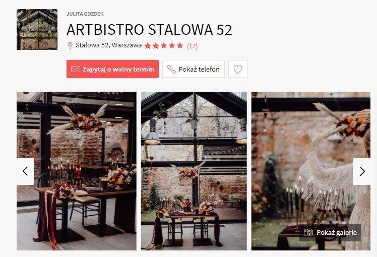 sale weselne w stylu boho - ArtBistro Stalowa 52