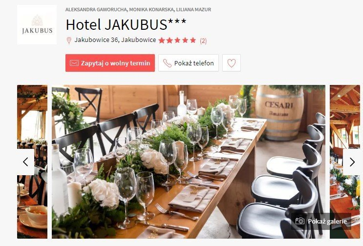 sale weselne w stylu boho - Hotel Jakubus