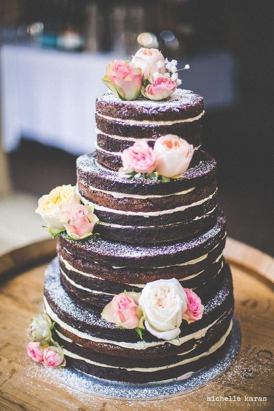 torty weselne naked caked z kwiatami