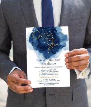zaproszenia ślubne w kolorze classic blue