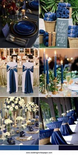 niebieskie dekoracje weselne