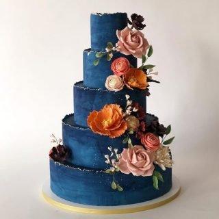 niebieskie torty weselne