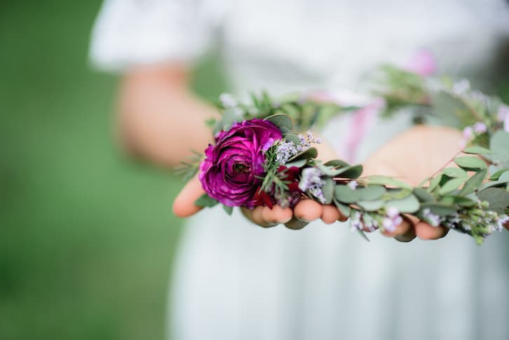 panna młoda wianek ślubny wesele rustykalne