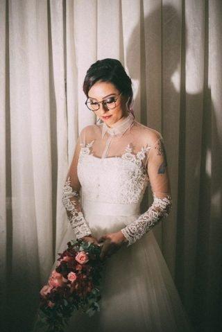 Panna Młoda w okularach - makijaż