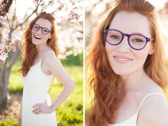 Panna Młoda w okularach - naturalny makijaż