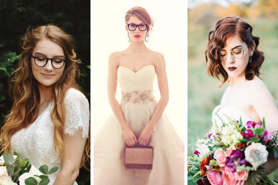 Panna Młoda w okularach - oprawki, makijaże, fryruzyr