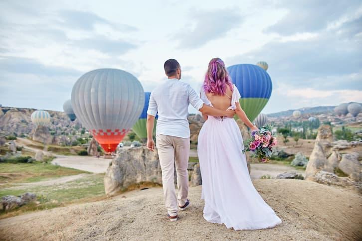 para młoda widok balony