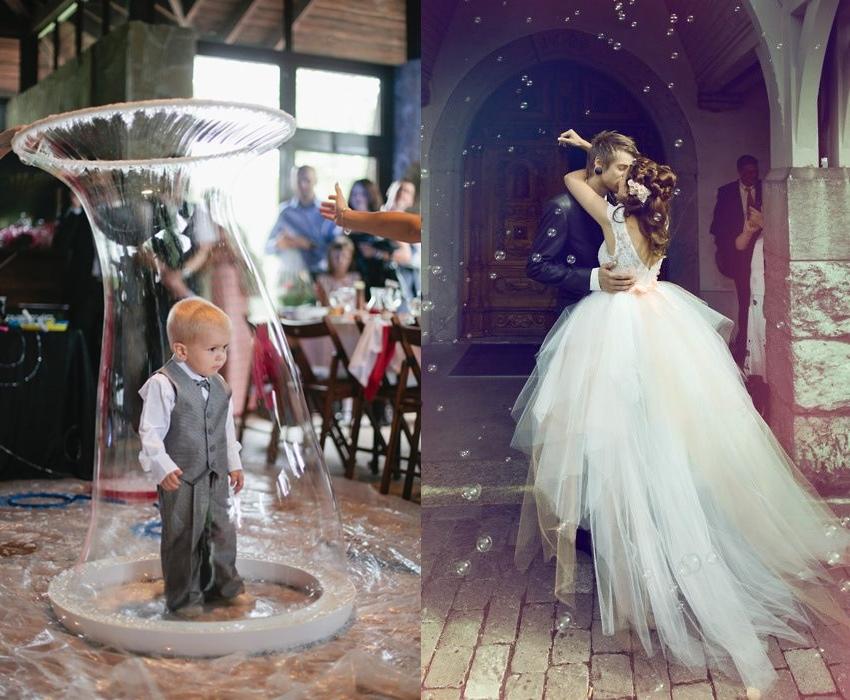 Pokaz baniek mydlanych na weselu