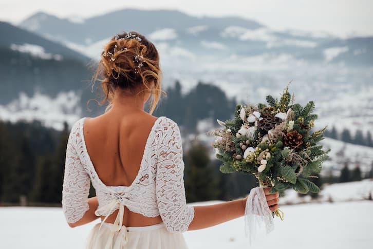 panna młoda ślub zimą grudzień