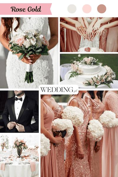 kolor przewodni wesela rosę gold