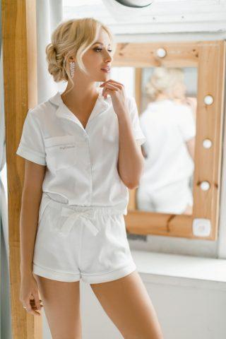 Satynowa piżamka koszula i szorty