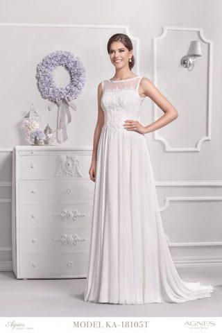 Skromna suknia ślubna z półtransparentnym dekoltem Agnes Fashion Group