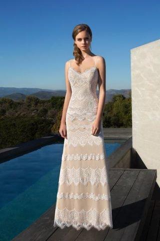 Beżowa suknia ślubna Demetrios