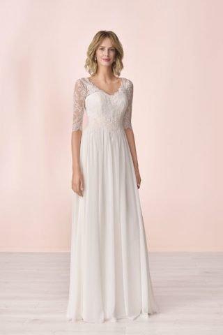 Skromna suknia ślubna z dekoltem okrągłym Elizabeth Passion