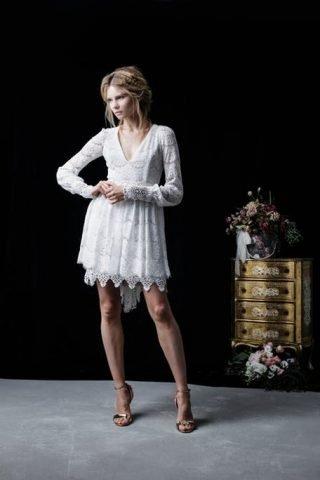 Koronkowa krótka suknia ślubna Joanna Niemiec