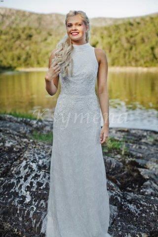 Skromna suknia ślubna ze stójką Ksymena