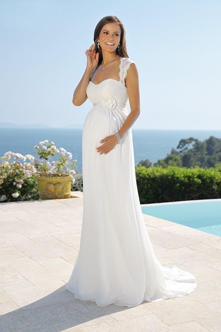 Skromna suknia ślubna dla kobiet w ciąży Lady Bird